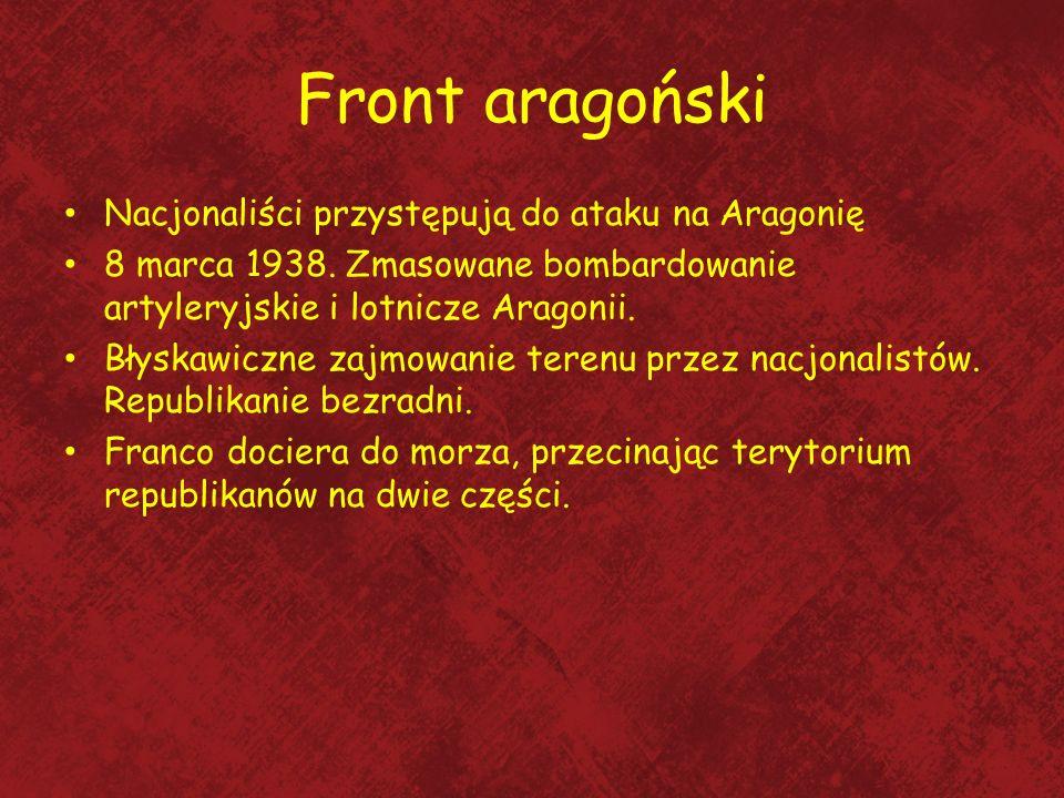 Front aragoński Nacjonaliści przystępują do ataku na Aragonię 8 marca 1938. Zmasowane bombardowanie artyleryjskie i lotnicze Aragonii. Błyskawiczne za