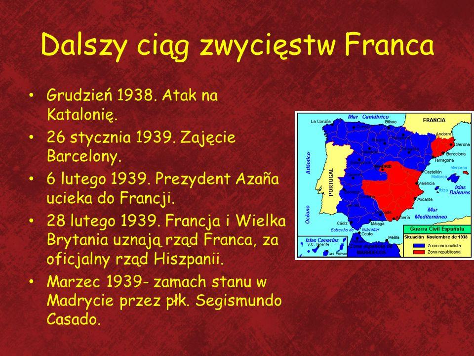 Dalszy ciąg zwycięstw Franca Grudzień 1938. Atak na Katalonię. 26 stycznia 1939. Zajęcie Barcelony. 6 lutego 1939. Prezydent Azaña ucieka do Francji.