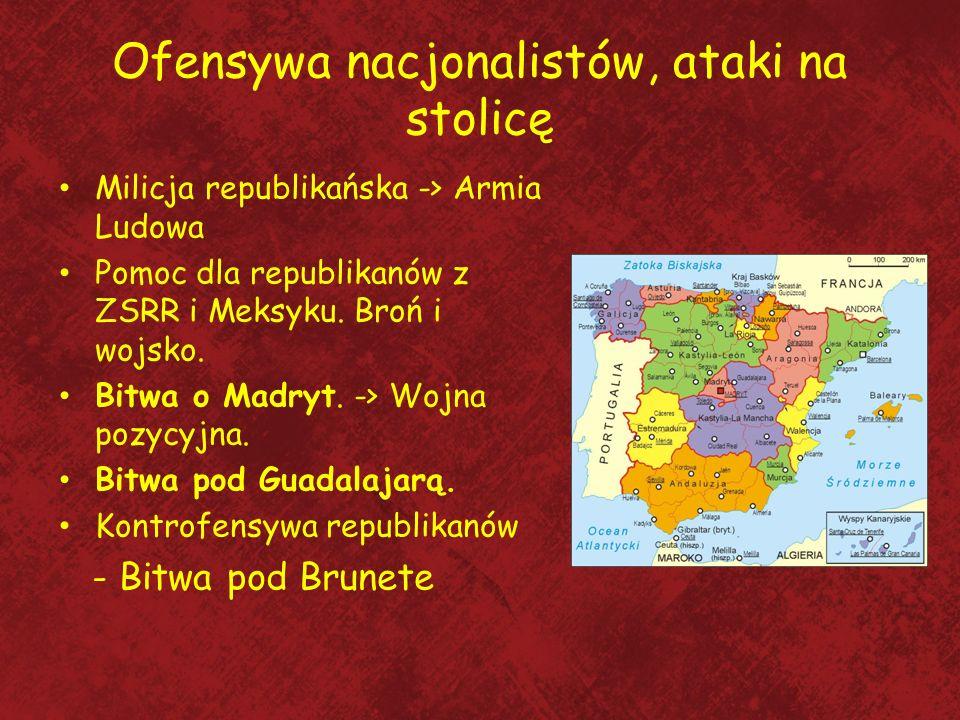 Ofensywa nacjonalistów, ataki na stolicę Milicja republikańska -> Armia Ludowa Pomoc dla republikanów z ZSRR i Meksyku. Broń i wojsko. Bitwa o Madryt.