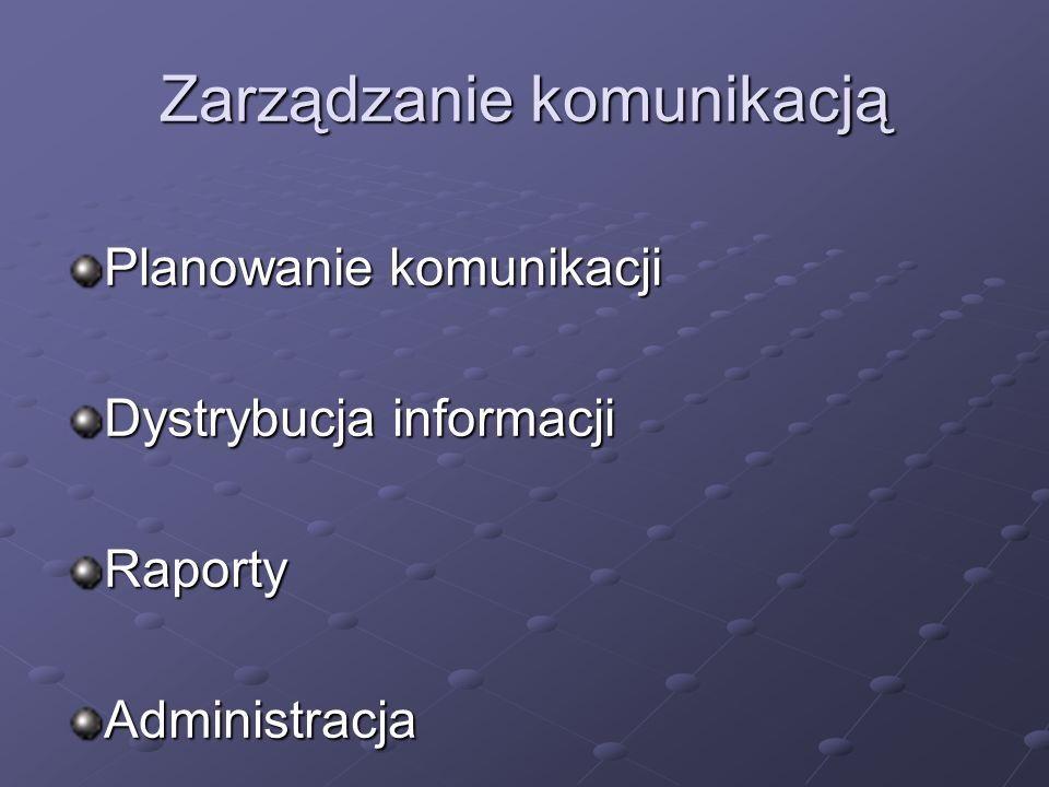 Zarządzanie komunikacją Planowanie komunikacji Dystrybucja informacji RaportyAdministracja