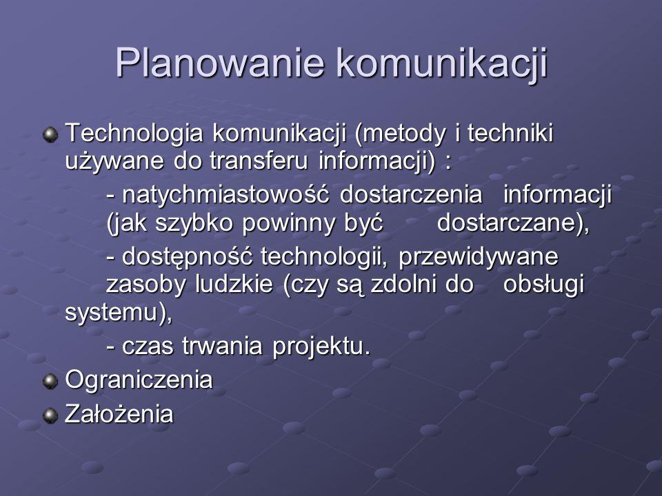 Planowanie komunikacji Technologia komunikacji (metody i techniki używane do transferu informacji) : - natychmiastowość dostarczenia informacji (jak s