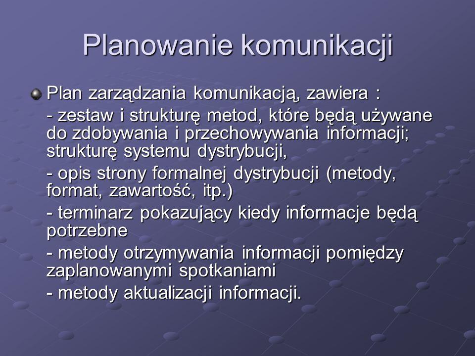 Planowanie komunikacji Plan zarządzania komunikacją, zawiera : - zestaw i strukturę metod, które będą używane do zdobywania i przechowywania informacj