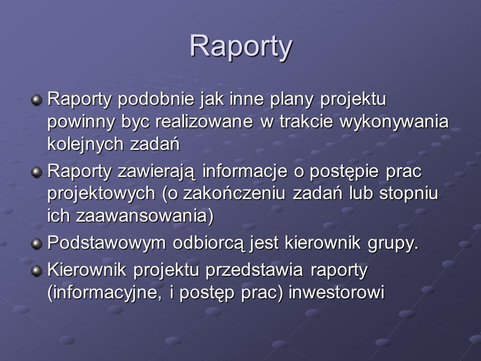 Raporty Raporty podobnie jak inne plany projektu powinny byc realizowane w trakcie wykonywania kolejnych zadań Raporty zawierają informacje o postępie
