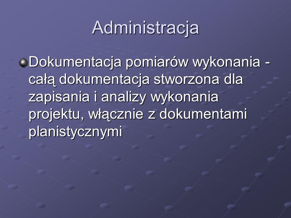 Administracja Dokumentacja pomiarów wykonania - całą dokumentacja stworzona dla zapisania i analizy wykonania projektu, włącznie z dokumentami planist