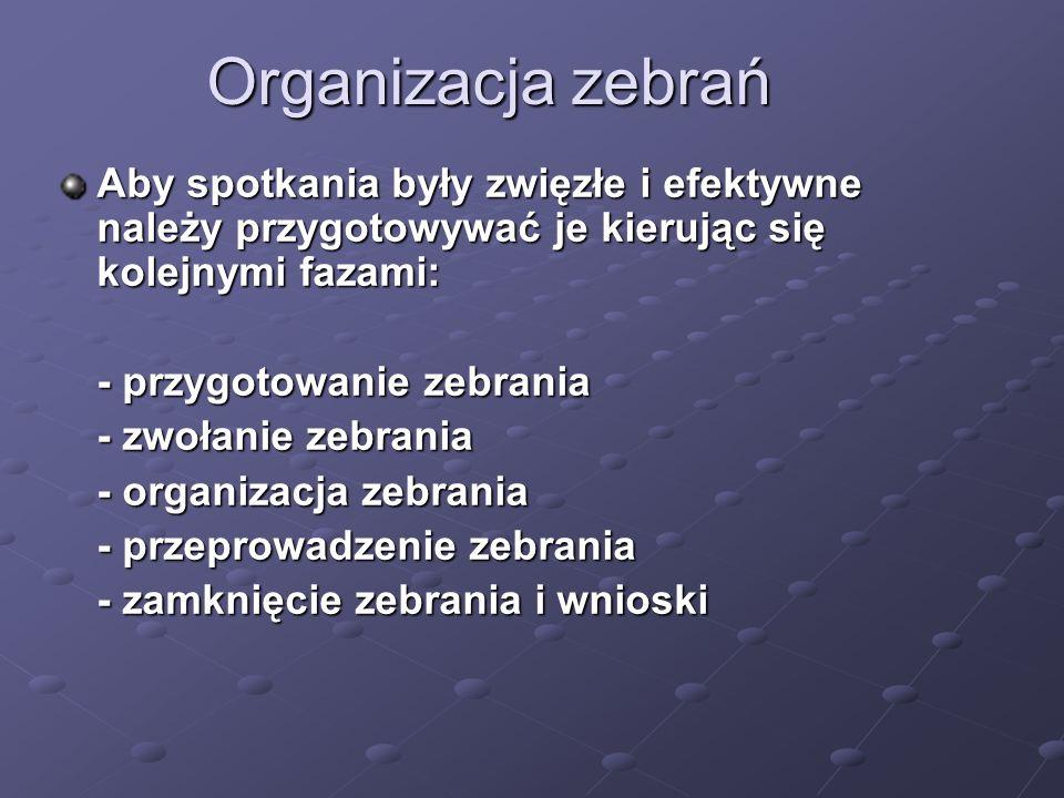 Organizacja zebrań Aby spotkania były zwięzłe i efektywne należy przygotowywać je kierując się kolejnymi fazami: - przygotowanie zebrania - zwołanie z