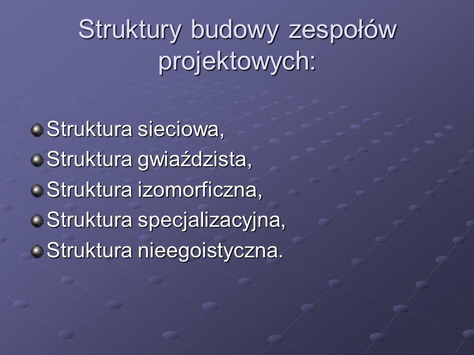Struktury budowy zespołów projektowych: Struktura sieciowa, Struktura gwiaździsta, Struktura izomorficzna, Struktura specjalizacyjna, Struktura nieego