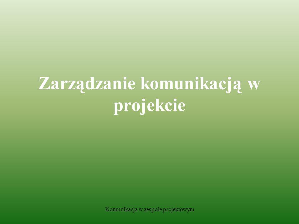 Komunikacja w zespole projektowym Zarządzanie komunikacją w projekcie