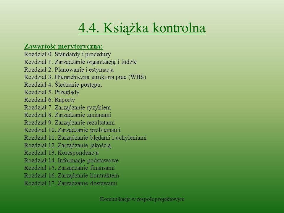 Komunikacja w zespole projektowym 4.4.Książka kontrolna Zawartość merytoryczna: Rozdział 0.