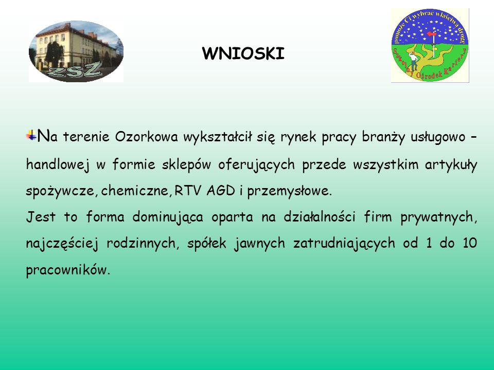 WNIOSKI N a terenie Ozorkowa wykształcił się rynek pracy branży usługowo – handlowej w formie sklepów oferujących przede wszystkim artykuły spożywcze,