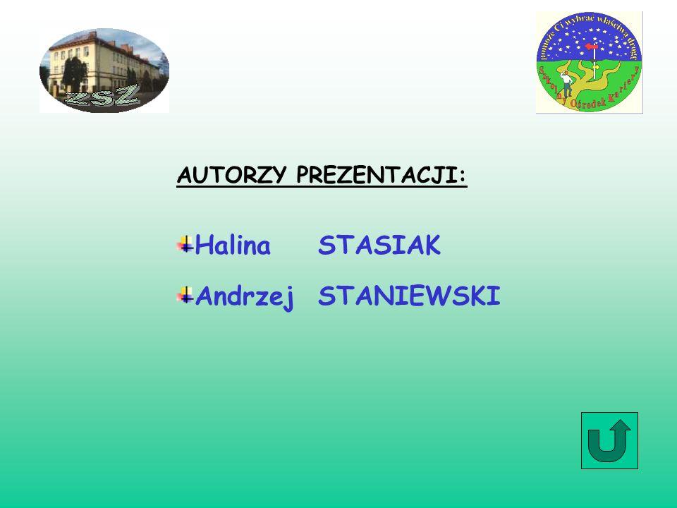 AUTORZY PREZENTACJI: Halina STASIAK Andrzej STANIEWSKI