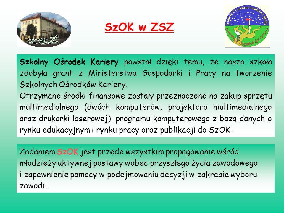 SzOK w ZSZ Szkolny Ośrodek Kariery powstał dzięki temu, że nasza szkoła zdobyła grant z Ministerstwa Gospodarki i Pracy na tworzenie Szkolnych Ośrodkó
