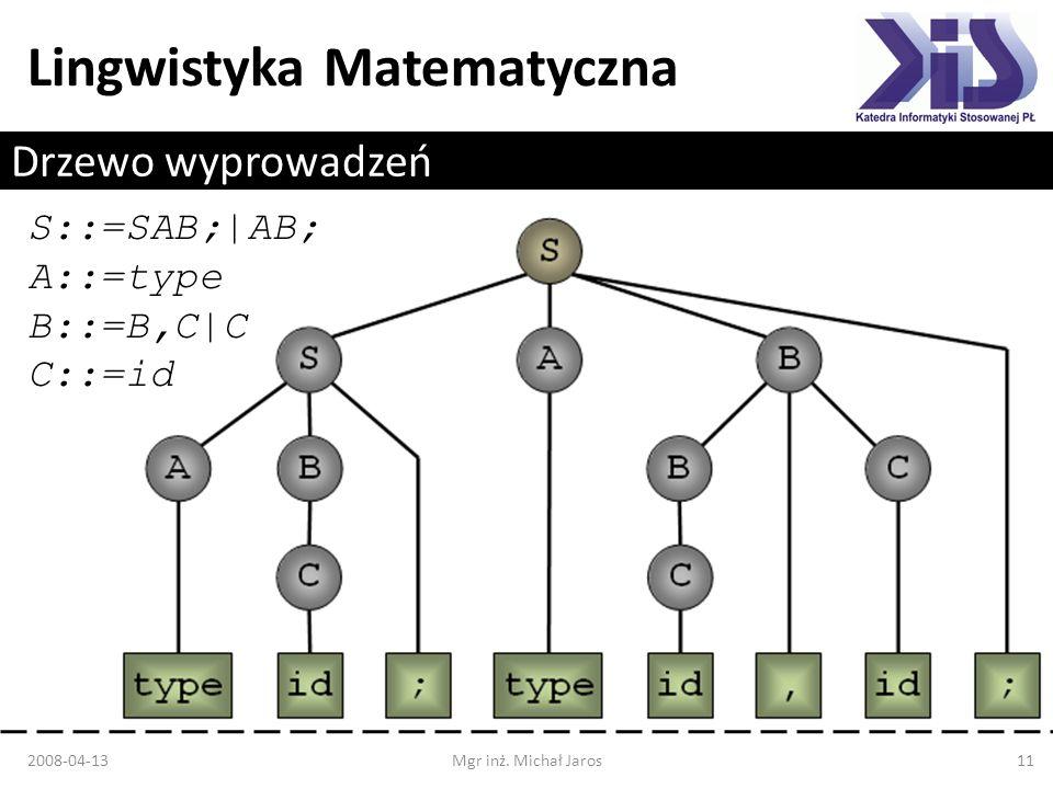 Lingwistyka Matematyczna Drzewo wyprowadzeń S::=SAB;|AB; A::=type B::=B,C|C C::=id 2008-04-13Mgr inż. Michał Jaros11