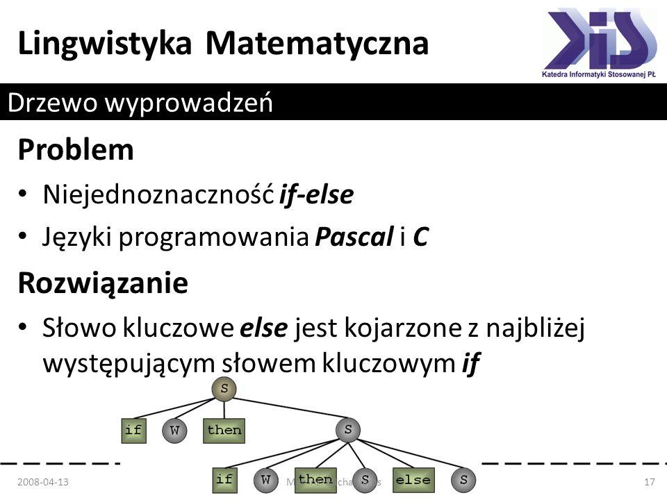 Lingwistyka Matematyczna Drzewo wyprowadzeń Problem Niejednoznaczność if-else Języki programowania Pascal i C Rozwiązanie Słowo kluczowe else jest koj