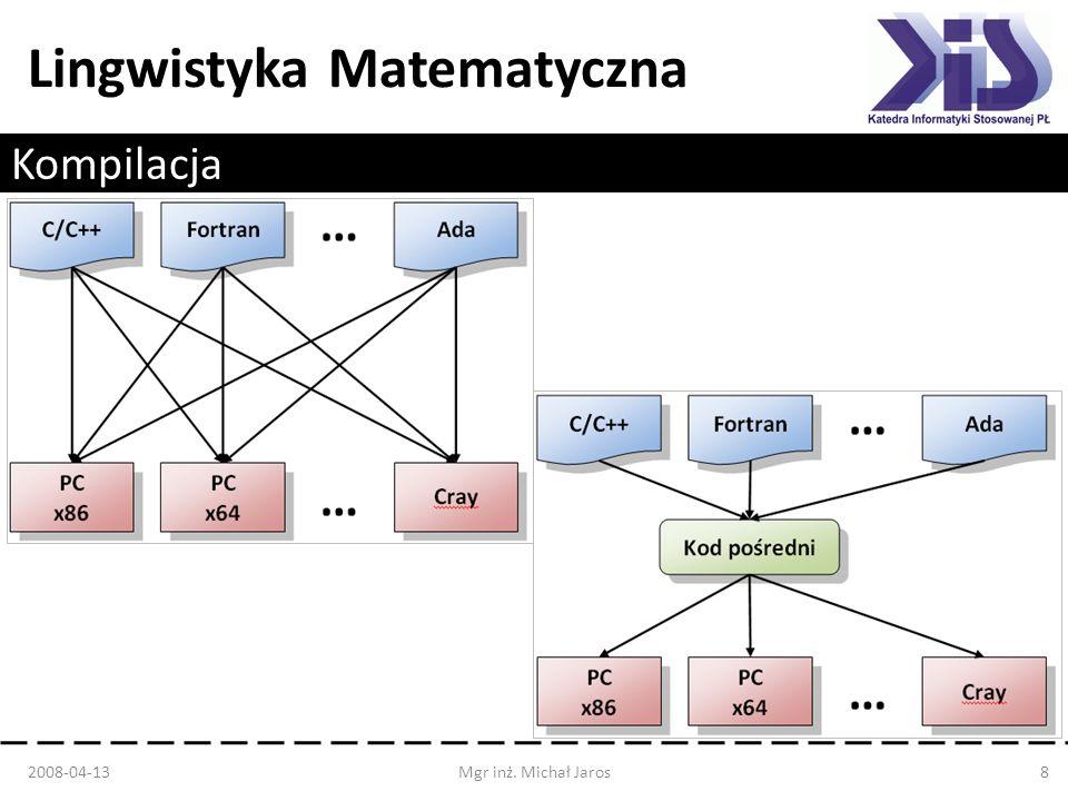 Lingwistyka Matematyczna Kompilacja 2008-04-13Mgr inż. Michał Jaros8