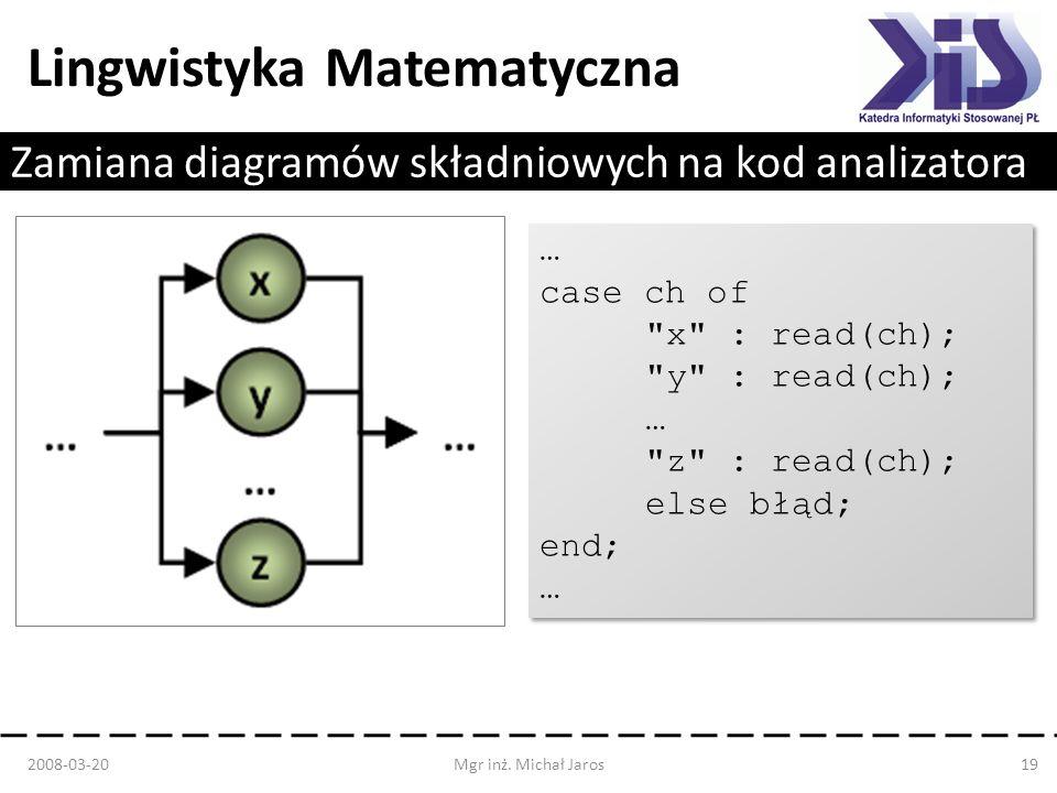 Lingwistyka Matematyczna Zamiana diagramów składniowych na kod analizatora 2008-03-20Mgr inż. Michał Jaros19 … case ch of