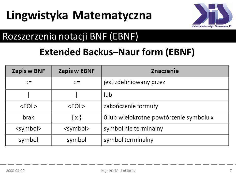 Lingwistyka Matematyczna Rozszerzenia notacji BNF (EBNF) Extended Backus–Naur form (EBNF) 2008-03-20Mgr inż. Michał Jaros7 Zapis w BNFZapis w EBNFZnac
