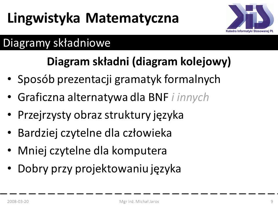 Lingwistyka Matematyczna Diagramy składniowe Diagram składni (diagram kolejowy) Sposób prezentacji gramatyk formalnych Graficzna alternatywa dla BNF i