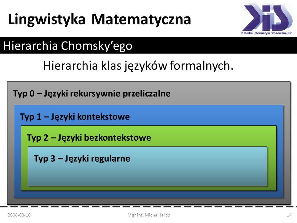 Lingwistyka Matematyczna Hierarchia Chomskyego 2008-03-16Mgr inż. Michał Jaros14 Hierarchia klas języków formalnych. Typ 0 – Języki rekursywnie przeli