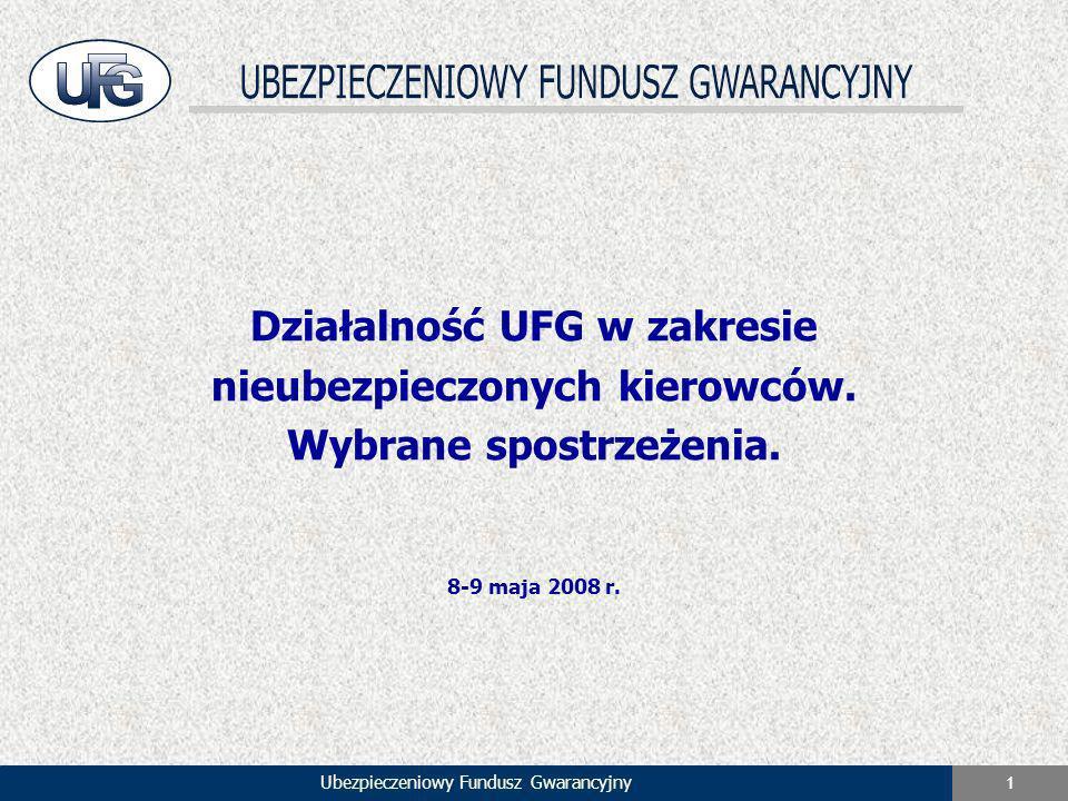 Ubezpieczeniowy Fundusz Gwarancyjny 1 Działalność UFG w zakresie nieubezpieczonych kierowców. Wybrane spostrzeżenia. 8-9 maja 2008 r.