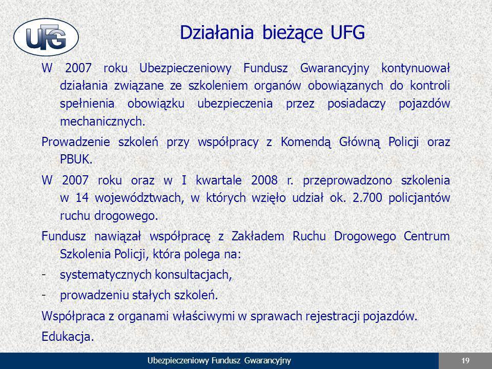 Ubezpieczeniowy Fundusz Gwarancyjny 19 Działania bieżące UFG W 2007 roku Ubezpieczeniowy Fundusz Gwarancyjny kontynuował działania związane ze szkolen
