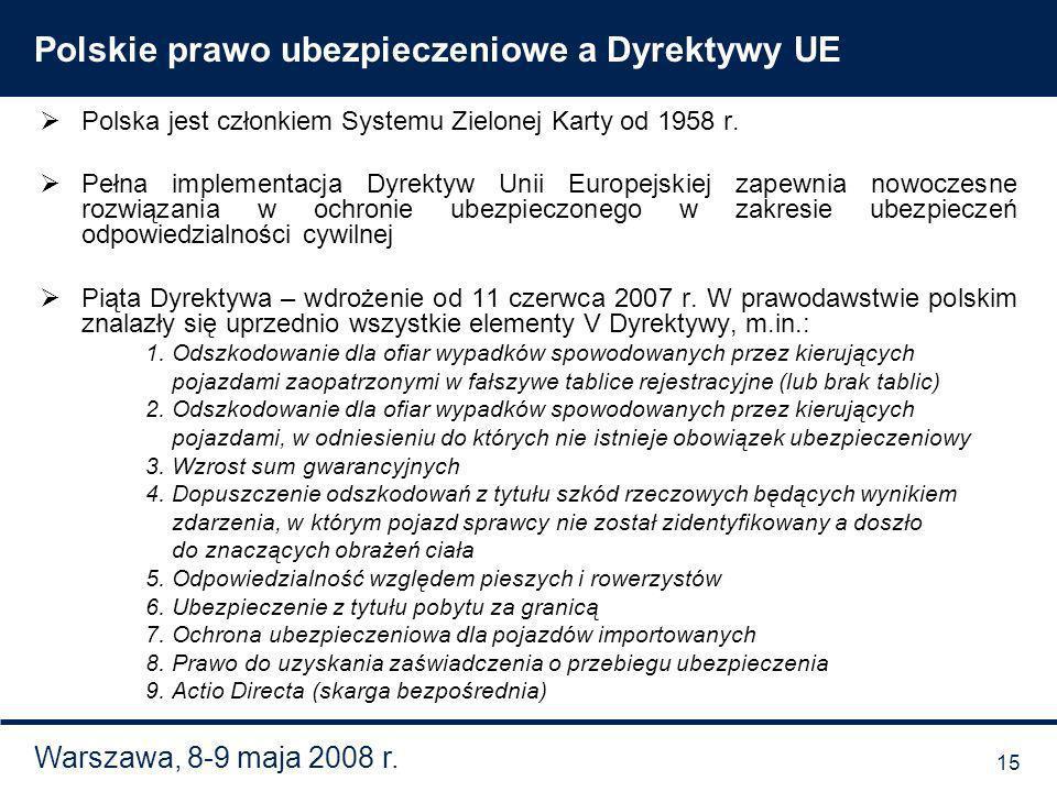 Warszawa, 8-9 maja 2008 r. Polskie prawo ubezpieczeniowe a Dyrektywy UE Polska jest członkiem Systemu Zielonej Karty od 1958 r. Pełna implementacja Dy