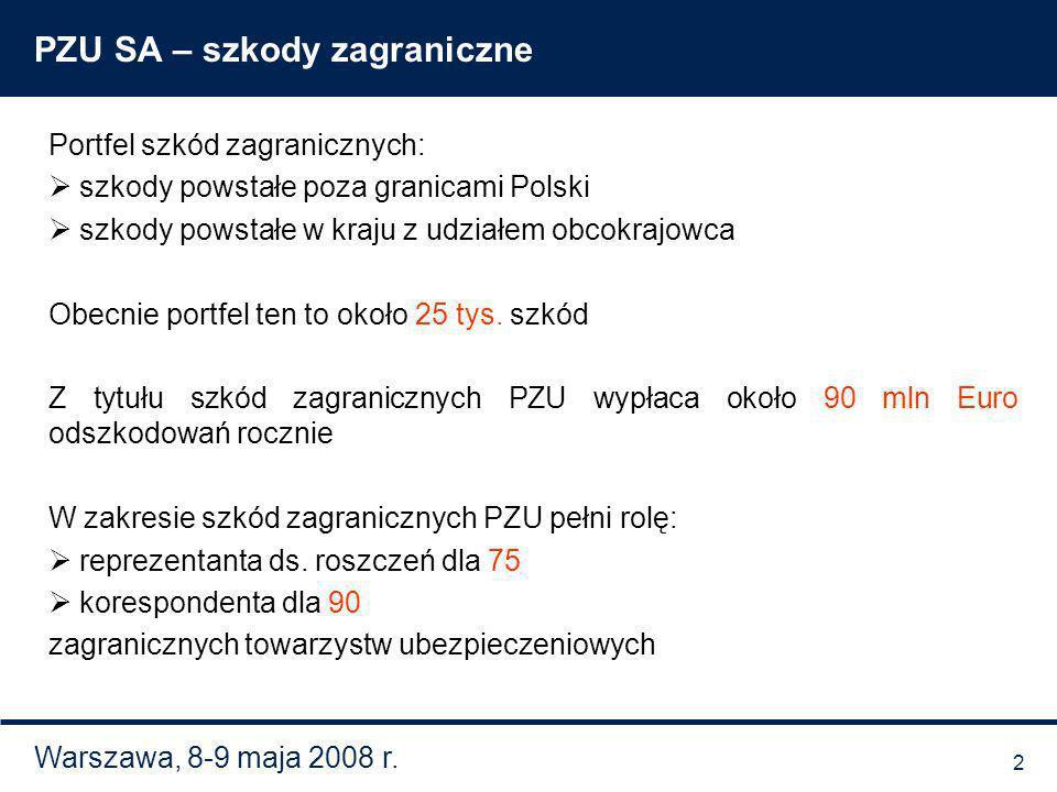 Warszawa, 8-9 maja 2008 r. PZU SA – szkody zagraniczne Portfel szkód zagranicznych: szkody powstałe poza granicami Polski szkody powstałe w kraju z ud
