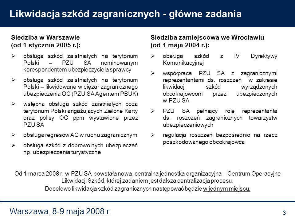 Warszawa, 8-9 maja 2008 r. Likwidacja szkód zagranicznych - główne zadania Siedziba w Warszawie (od 1 stycznia 2005 r.): obsługa szkód zaistniałych na