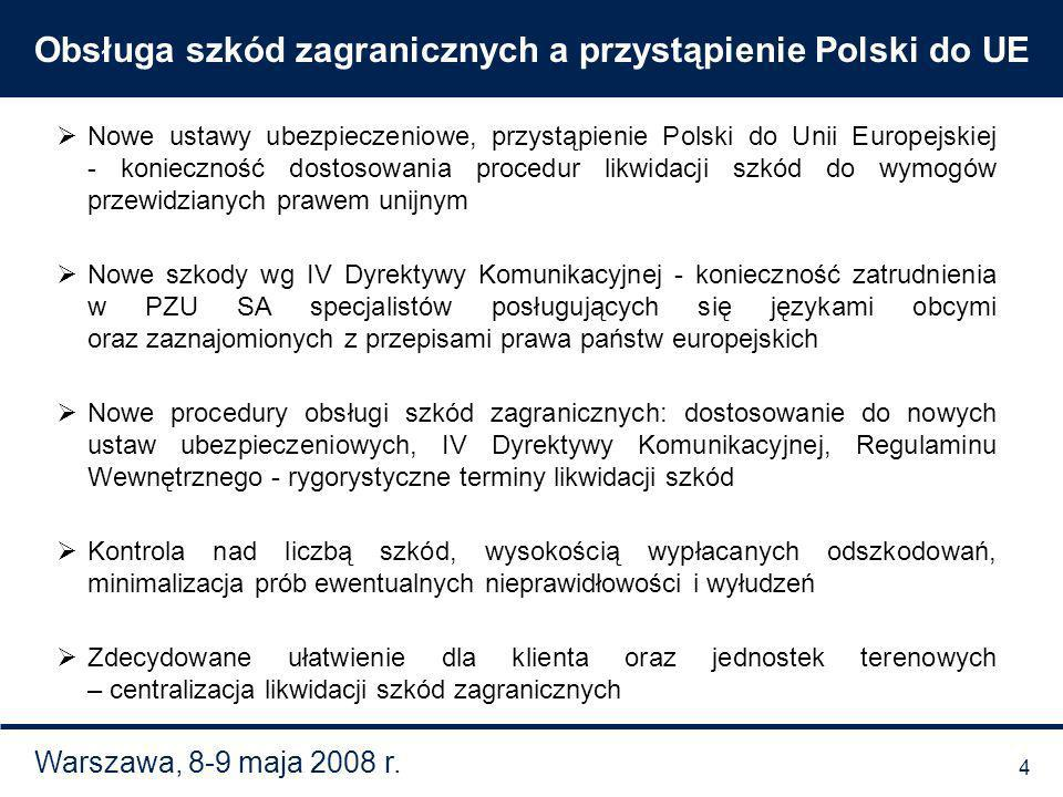 Warszawa, 8-9 maja 2008 r. Obsługa szkód zagranicznych a przystąpienie Polski do UE Nowe ustawy ubezpieczeniowe, przystąpienie Polski do Unii Europejs