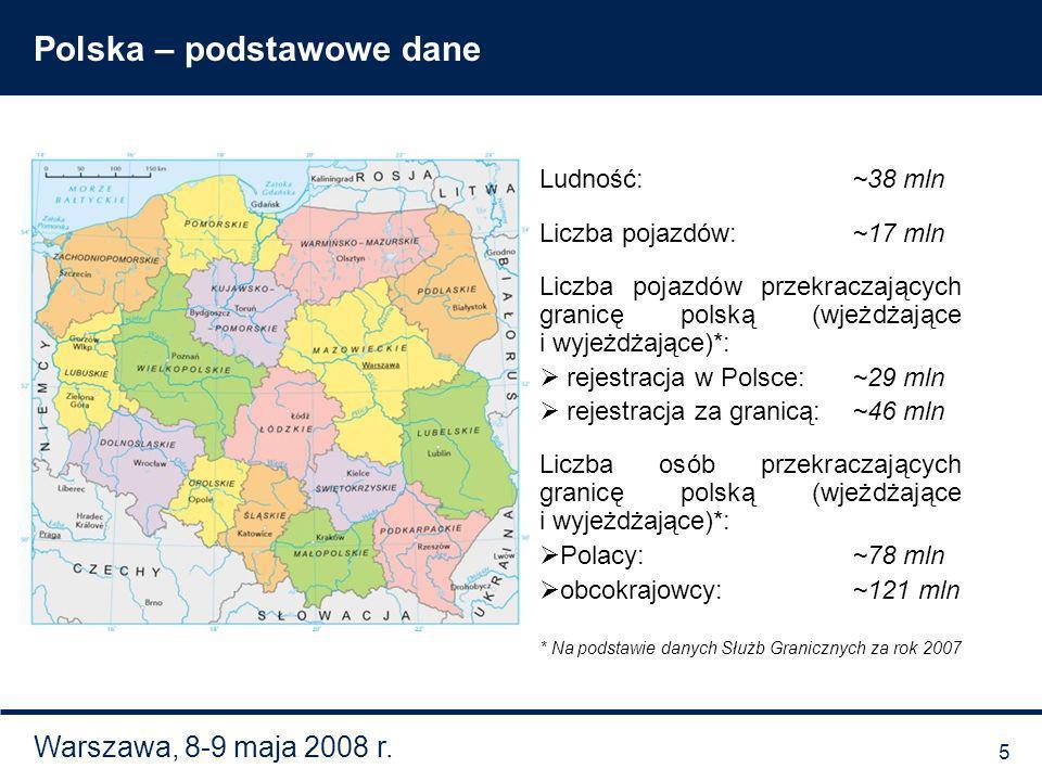 Warszawa, 8-9 maja 2008 r. Polska – podstawowe dane Ludność:~38 mln Liczba pojazdów:~17 mln Liczba pojazdów przekraczających granicę polską (wjeżdżają