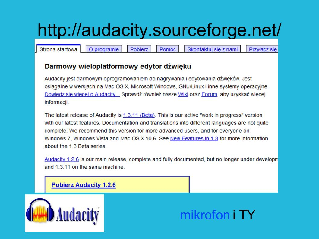 mikrofon i TY http://audacity.sourceforge.net/
