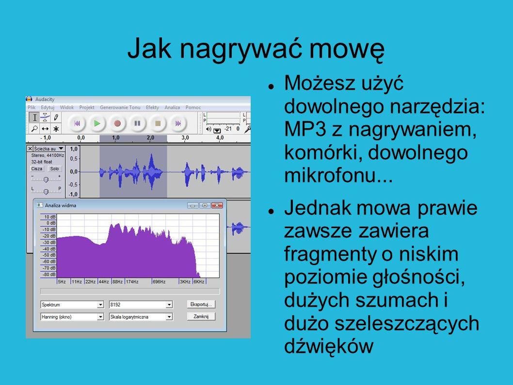 Mowę nagraj mono Prawie wszystkie informacje słowne zawierają się między 200 Hz a 8 kHz.