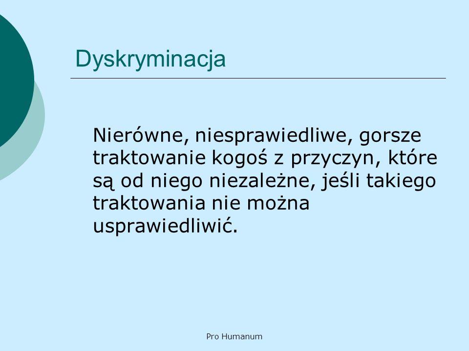 Pro Humanum Działania programowe Wspólnotowy Program Przeciwdziałania Dyskryminacji 2001 – 2006 Krajowy Program Przeciwdziałania Dyskryminacji Rasowej, Ksenofobii i Związanej z Nimi Nietolerancji Program na rzecz społeczności romskiej w Polsce
