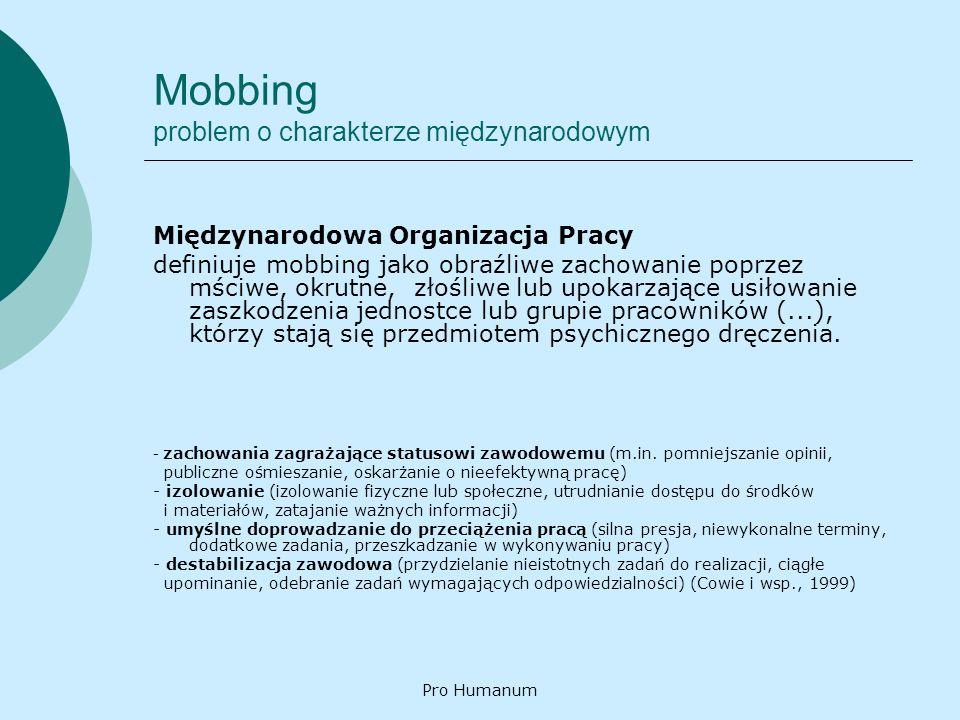 Pro Humanum Mobbing problem o charakterze międzynarodowym Międzynarodowa Organizacja Pracy definiuje mobbing jako obraźliwe zachowanie poprzez mściwe,