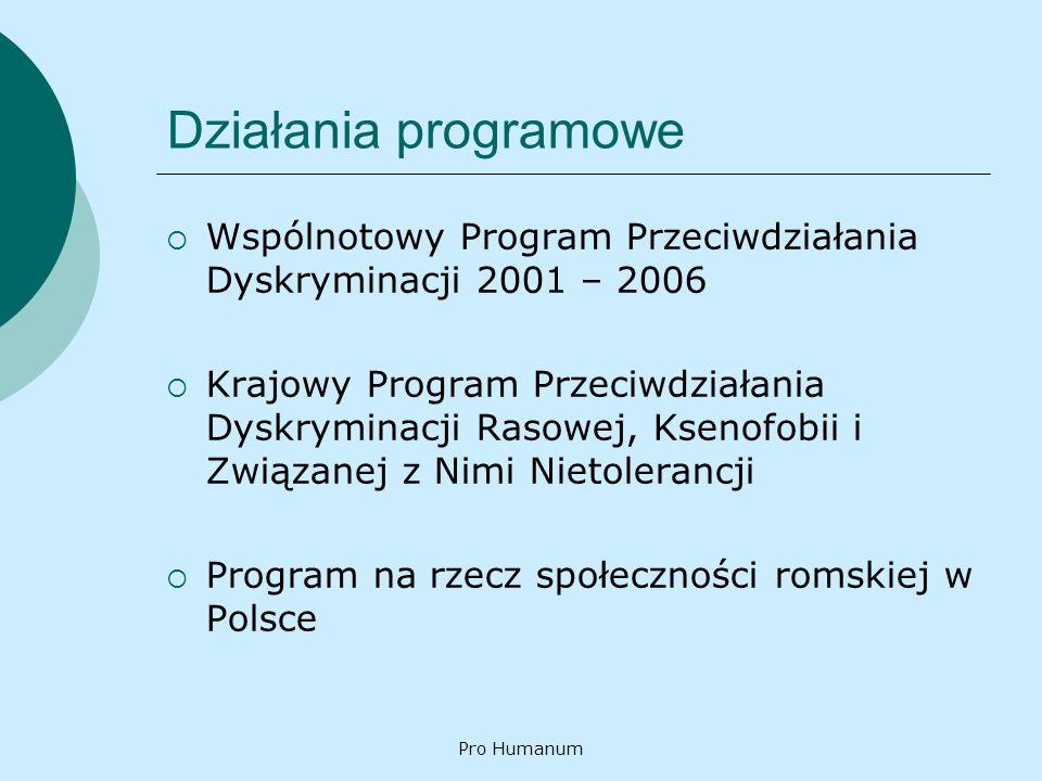 Pro Humanum Działania programowe Wspólnotowy Program Przeciwdziałania Dyskryminacji 2001 – 2006 Krajowy Program Przeciwdziałania Dyskryminacji Rasowej