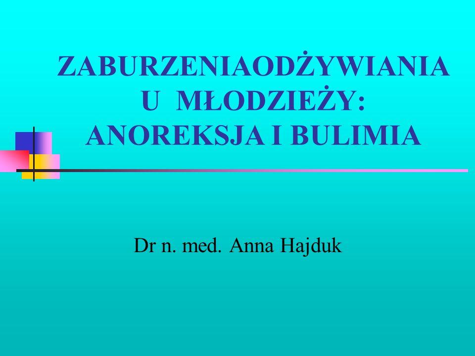ZABURZENIAODŻYWIANIA U MŁODZIEŻY: ANOREKSJA I BULIMIA Dr n. med. Anna Hajduk