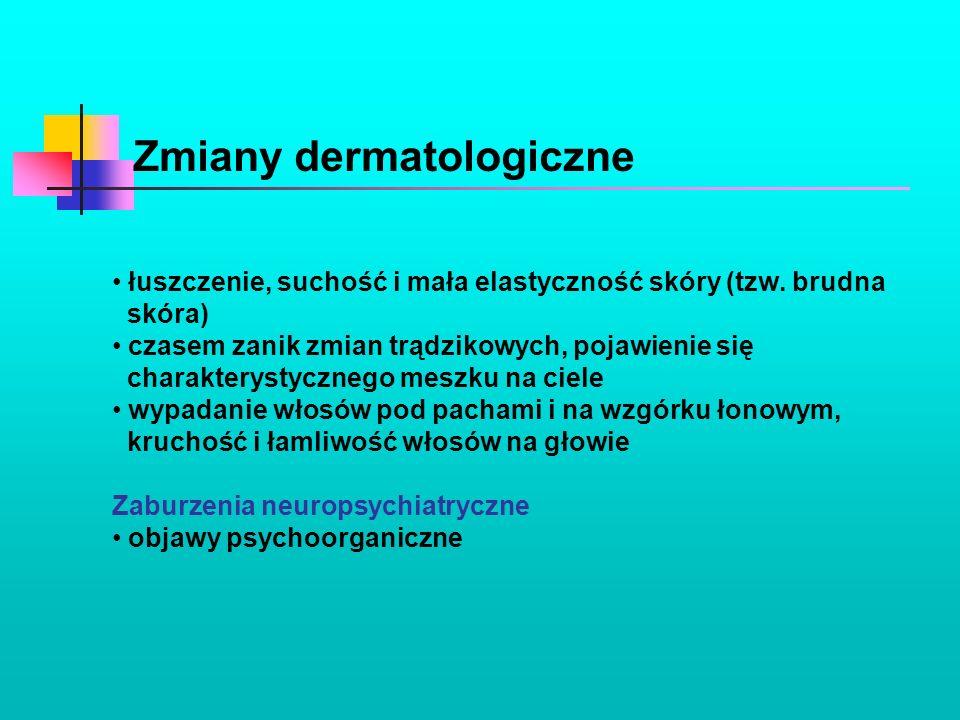 Zmiany dermatologiczne łuszczenie, suchość i mała elastyczność skóry (tzw. brudna skóra) czasem zanik zmian trądzikowych, pojawienie się charakterysty