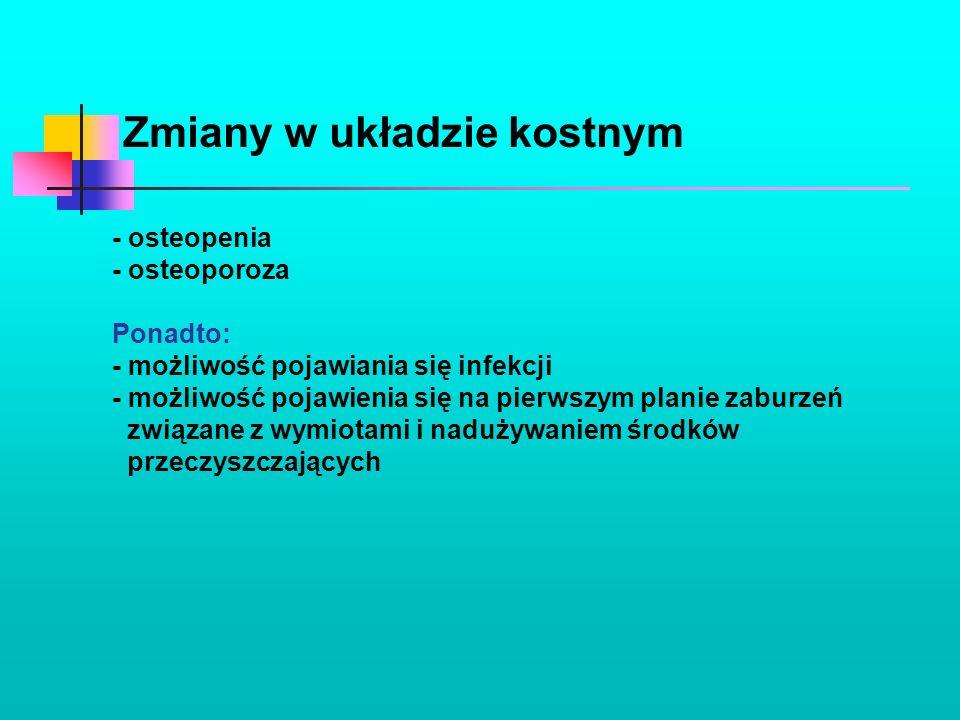 Zmiany w układzie kostnym - osteopenia - osteoporoza Ponadto: - możliwość pojawiania się infekcji - możliwość pojawienia się na pierwszym planie zabur