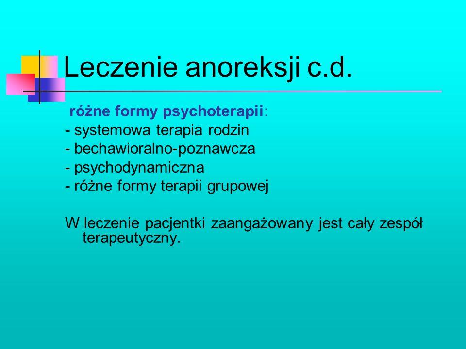 Leczenie anoreksji c.d. różne formy psychoterapii: - systemowa terapia rodzin - bechawioralno-poznawcza - psychodynamiczna - różne formy terapii grupo