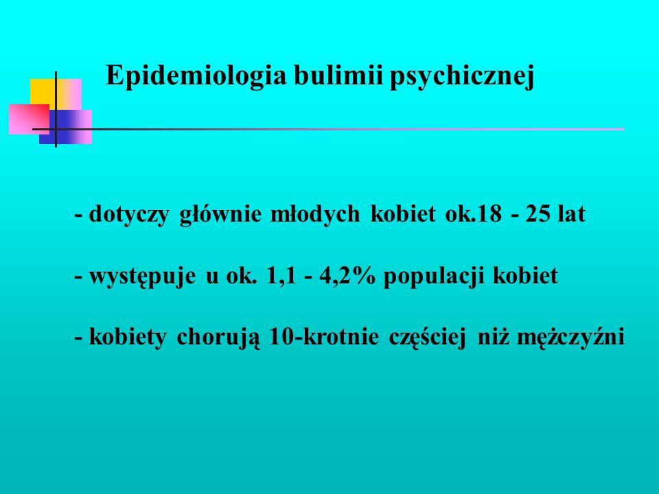 Epidemiologia bulimii psychicznej - dotyczy głównie młodych kobiet ok.18 - 25 lat - występuje u ok. 1,1 - 4,2% populacji kobiet - kobiety chorują 10-k