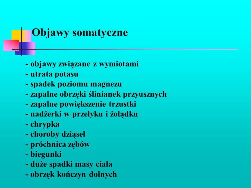 Objawy somatyczne - objawy związane z wymiotami - utrata potasu - spadek poziomu magnezu - zapalne obrzęki ślinianek przyusznych - zapalne powiększeni