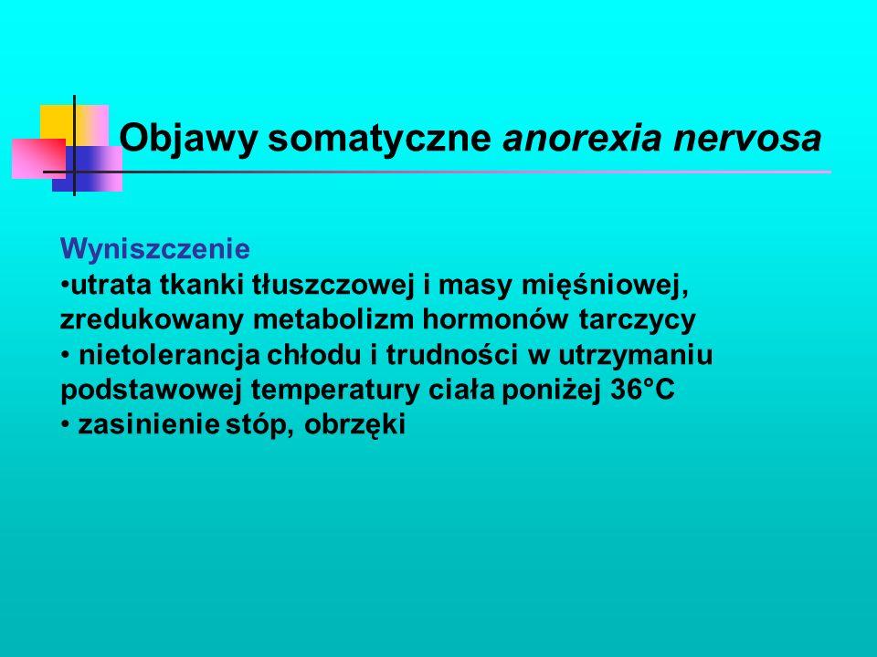 Objawy somatyczne anorexia nervosa Wyniszczenie utrata tkanki tłuszczowej i masy mięśniowej, zredukowany metabolizm hormonów tarczycy nietolerancja ch