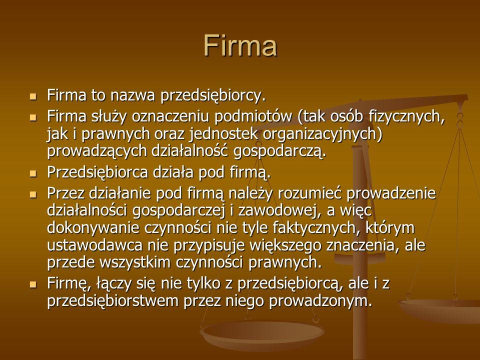 Firma osoby fizycznej Firmą osoby fizycznej jest jej imię i nazwisko.