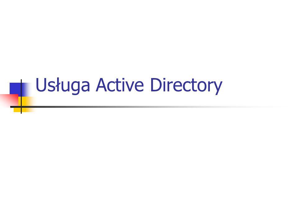Administrowanie usługą AD Obiekty usługi AD reprezentują zasoby sieciowe.