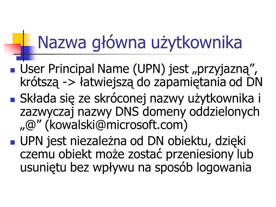 Nazwa główna użytkownika User Principal Name (UPN) jest przyjazną, krótszą -> łatwiejszą do zapamiętania od DN Składa się ze skróconej nazwy użytkowni