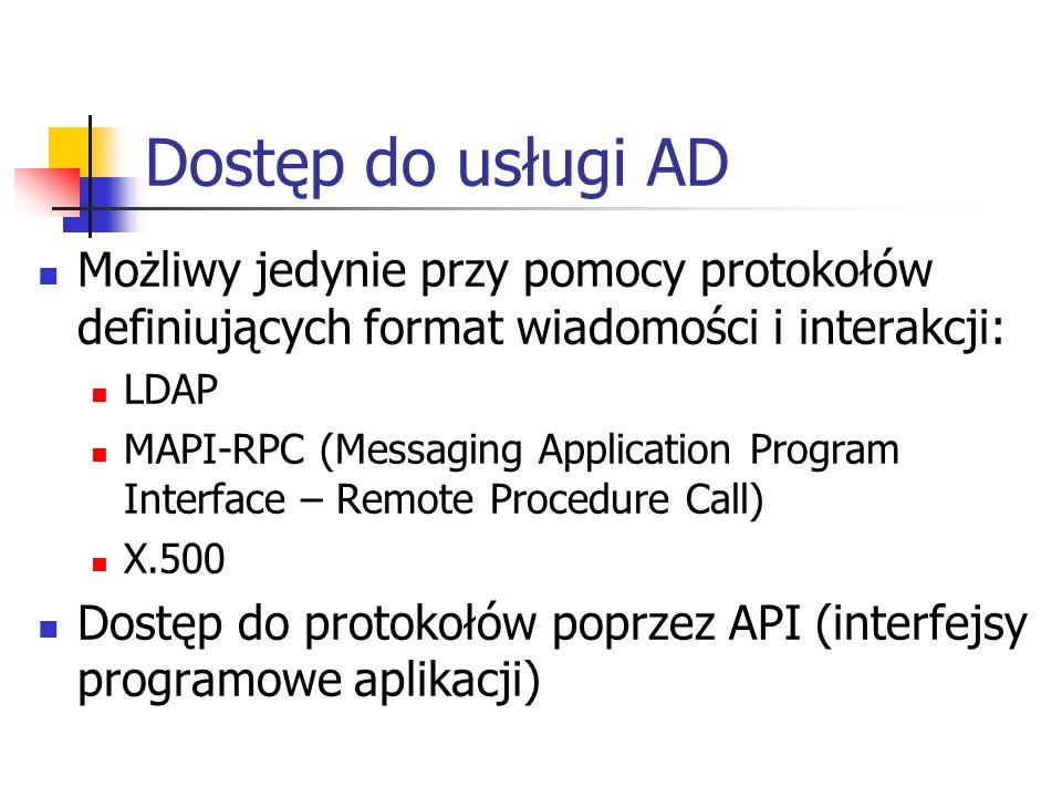 Dostęp do usługi AD Możliwy jedynie przy pomocy protokołów definiujących format wiadomości i interakcji: LDAP MAPI-RPC (Messaging Application Program