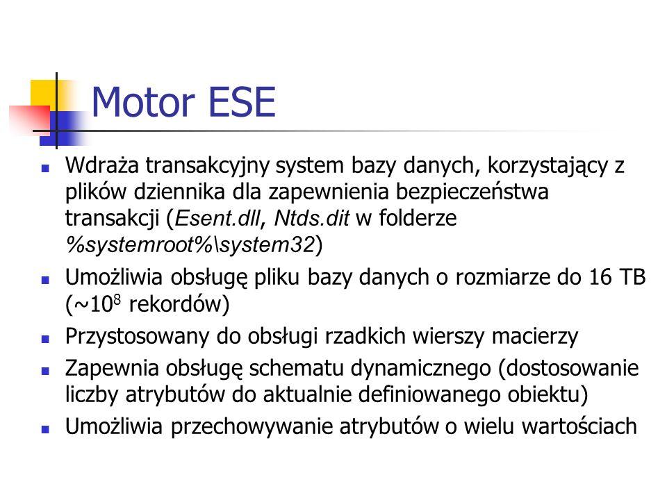 Motor ESE Wdraża transakcyjny system bazy danych, korzystający z plików dziennika dla zapewnienia bezpieczeństwa transakcji ( Esent.dll, Ntds.dit w fo
