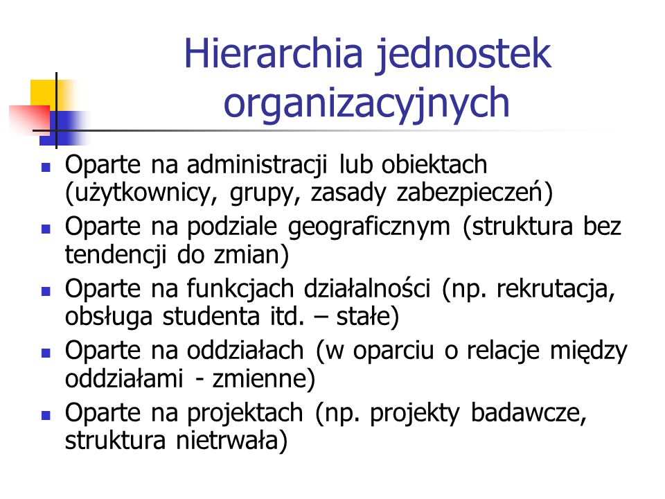 Hierarchia jednostek organizacyjnych Oparte na administracji lub obiektach (użytkownicy, grupy, zasady zabezpieczeń) Oparte na podziale geograficznym