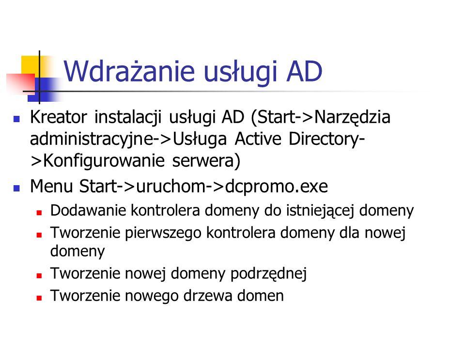Wdrażanie usługi AD Kreator instalacji usługi AD (Start->Narzędzia administracyjne->Usługa Active Directory- >Konfigurowanie serwera) Menu Start->uruc