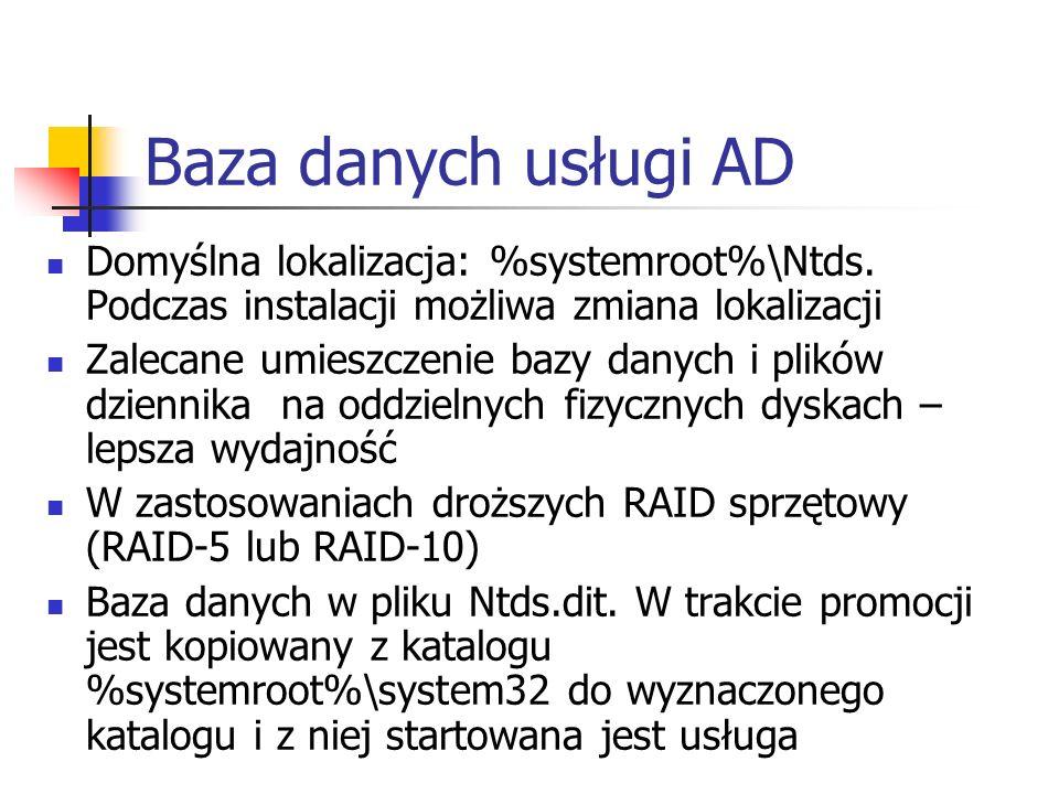 Baza danych usługi AD Domyślna lokalizacja: %systemroot%\Ntds. Podczas instalacji możliwa zmiana lokalizacji Zalecane umieszczenie bazy danych i plikó