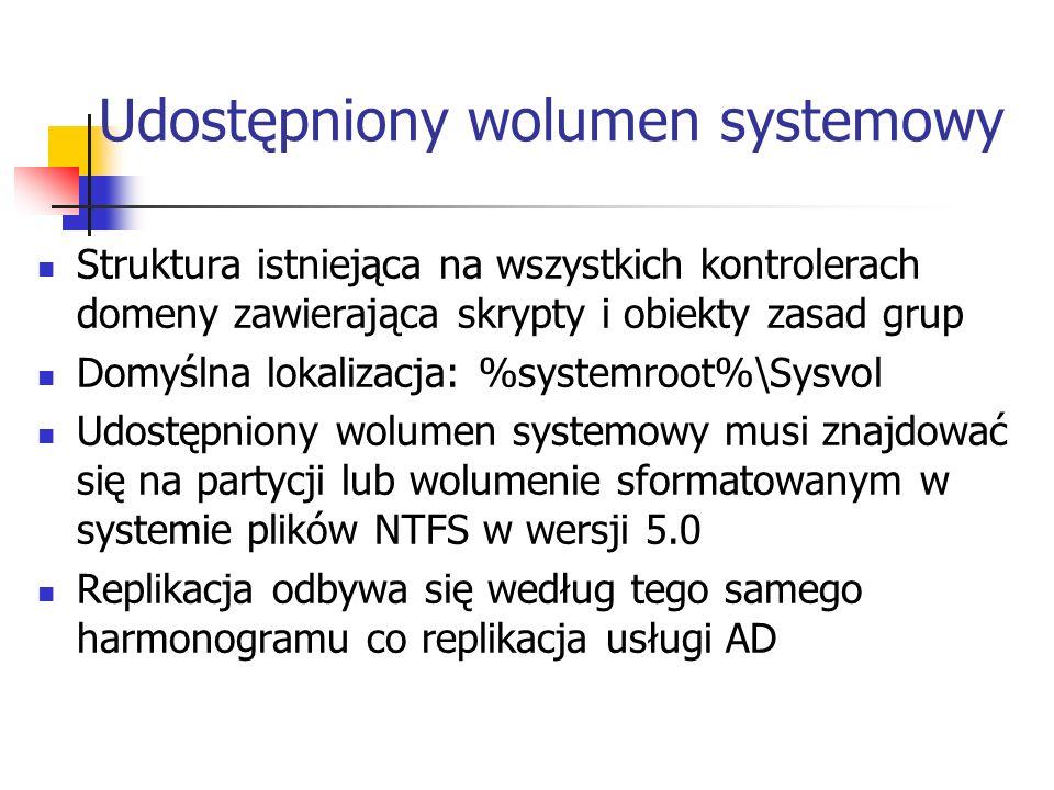 Udostępniony wolumen systemowy Struktura istniejąca na wszystkich kontrolerach domeny zawierająca skrypty i obiekty zasad grup Domyślna lokalizacja: %